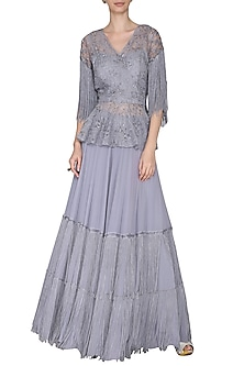 Grey Cutwork Embroidered Peplum with Lehenga Skirt by Aashna Behl
