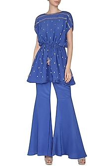 Royal Blue Embroidered Kaftan Top with Flared Pants by Aashna Behl