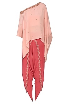 Peach Embroidered One Shoulder Kaftan with Red Dhoti Pants by Aashna Behl