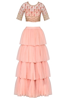 Peach Embroidered Blouse with Tiered Ruffles Lehenga Skirt