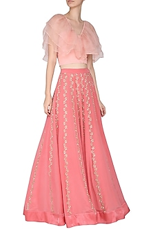Peach Ruffles Blouse with Pink Embroidered Lehenga Skirt by Aashna Behl