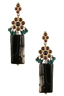 Gold Leafing Black Agate and Kempstones Earrings by Aaharya