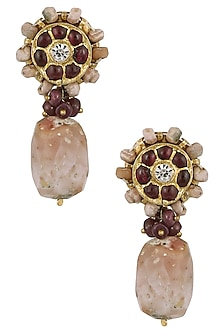 Gold Leafing Kempstones and Pink Opal Earrings by Aaharya
