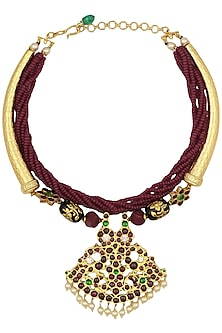 Gold Leafing Red-Green Kemp Stones and Agate Necklace by Aaharya