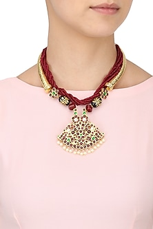Gold Leafing Red-Green Kemp Stones and Agate Necklace