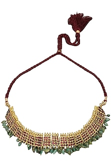 Gold Leafing Kempstones and Emerald Jewel Necklace by Aaharya