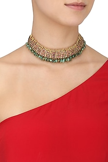 Gold Leafing Kempstones and Emerald Jewel Necklace