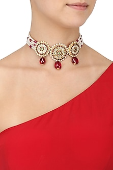 Ruby Pearl and Kempstone Multistrand Necklace by Aaharya