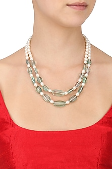 Florite and Pearl Double String Necklace