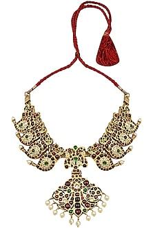 Gold Leafing Green and Red Kemp Stones Kairi Pattern Choker by Aaharya