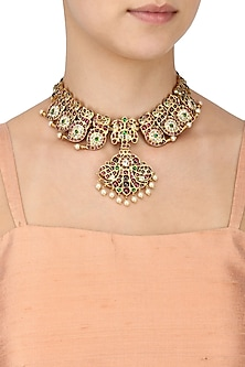Gold Leafing Green and Red Kemp Stones Kairi Pattern Choker by Aaharya