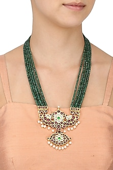 Gold Leafing Emerald and Kempstone 5 Strand Necklace by Aaharya