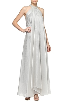 Silver Halter Neck Maxi Dress by Amit Aggarwal