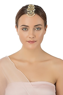 Gold Plated White Pearls Embellished Maangtikka