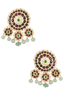Gold Plated Kemp Stones Embellieshed Studs by Aaharya