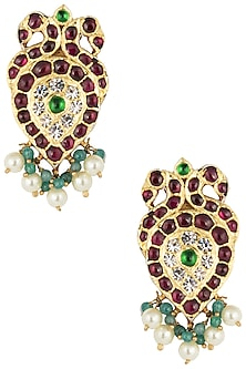 Gold Plated Kemp Stones Embellieshed Earrings by Aaharya