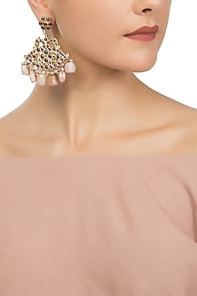 Gold Plated Pink Pearls Embellished Earrings