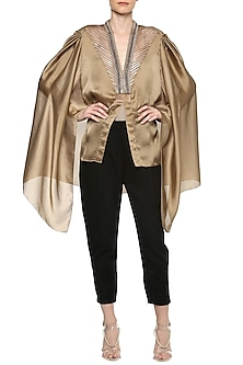 Beige Gold Cape Top
