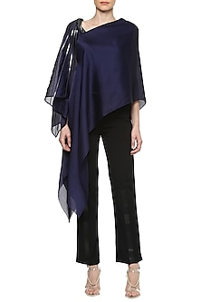 Ink Blue Asymmetrical Cape Top