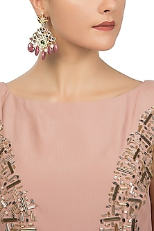 Gold Plated Multi Stones Embellished Earrings