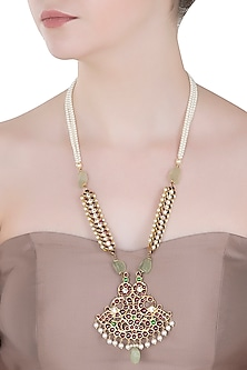 Gold Plated Red Kemp Stones and Quartz Embellished Necklace