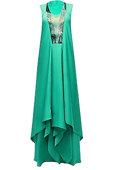 Green Marble Print Sequins Embellished Asymmetric Flared Dress