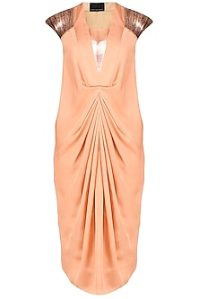 Peach Marble Print Sequins Embellished Pleated Dress
