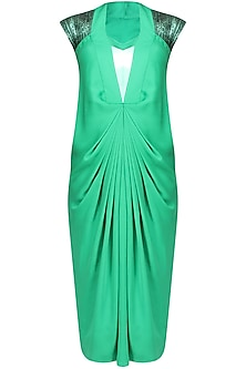Green Marble Print Sequins Embellished Pleated Dress