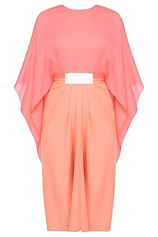 Coral and Orange Flared Sleeves Pleated Dress