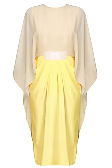 Lemon Yellow Flared Sleeves Pleated Dress