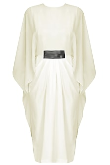 White Flared Sleeves Pleated Dress