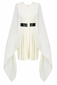 White Pleated Long Kaftan Sleeves Flared Dress