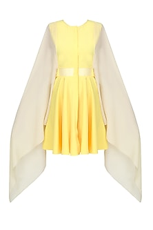 Yellow Pleated Long Kaftan Sleeves Flared Dress