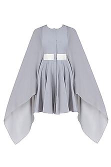 Grey Pleated Long Kaftan Sleeves Flared Dress
