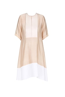 Biege and Ivory Panel Loose Dress