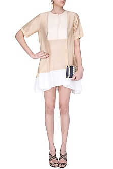 Biege and Ivory Panel Loose Dress by Amit Aggarwal