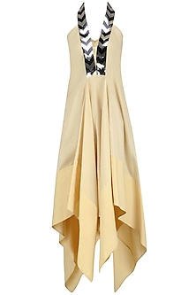 Ivory Zigzag Panel Asymmetric Flared Dress