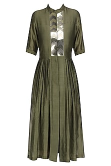 Olive Green Flared Shirt Dress by Amit Aggarwal