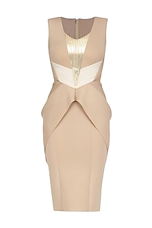 Beige and Ivory Metallic Line Dress