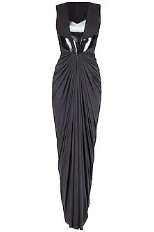 Black Faux Metal Line Pleated Dress