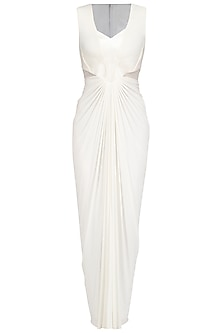 Ivory Faux Metal Line Pleated Dress