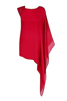 Red One Sleeve Asymmetric Tunic