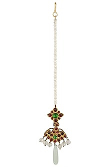 Gold Leafing Red and Green Kempstone Maang Tikka by Aaharya