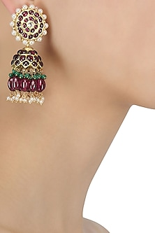 Gold Leafing Ruby Jhumki Earrings