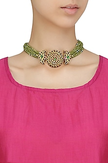 Gold Leafing Floral Design Pendant Choker by Aaharya