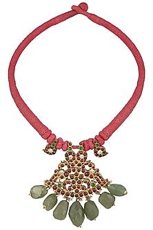 Gold Leafing Kempstone Swan Pendant Choker by Aaharya