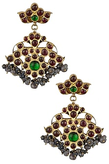 Gold Leafing Dangler Earrings by Aaharya