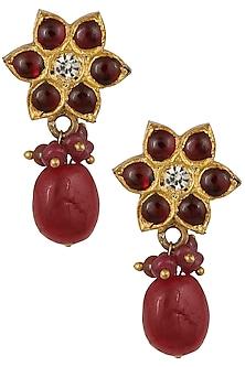 Gold Leafing Tear Drop Shape Earrings by Aaharya