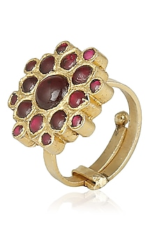 Gold Leafing Red Kempstone Ring by Aaharya