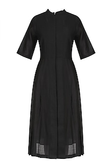 Black Pleated Pnael Knee Length Dress